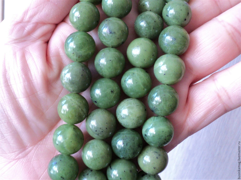 Jade smooth bead 12mm, Beads1, Zheleznodorozhny,  Фото №1