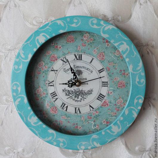 Часы для дома ручной работы. Ярмарка Мастеров - ручная работа. Купить Часы настенные Бирюзовый шебби. Handmade. Бирюзовый