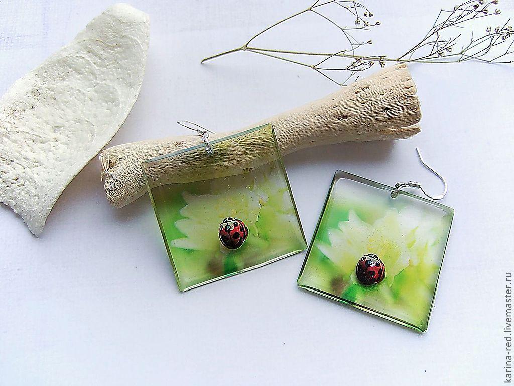 Transparent Earrings Square Earrings Ladybug on a Leaf, Earrings, Taganrog,  Фото №1