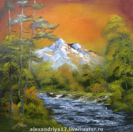 Пейзаж ручной работы. Ярмарка Мастеров - ручная работа. Купить Картина «Закат на горной реке». Handmade. Картина, пейзаж, природа