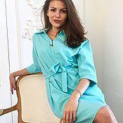 Одежда ручной работы. Ярмарка Мастеров - ручная работа Платье-рубашка цвета Тиффани. Handmade.