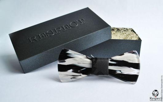 Галстуки, бабочки ручной работы. Ярмарка Мастеров - ручная работа. Купить Стеклянная галстук бабочка Respect Exclusive Zebra черно-белая. Handmade.