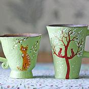 """Посуда ручной работы. Ярмарка Мастеров - ручная работа Набор кружек """"Весенние коты-1"""". Handmade."""