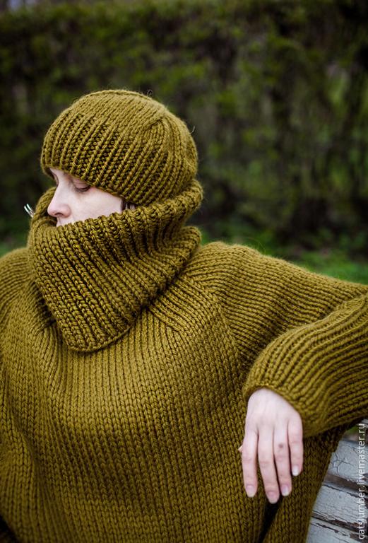 Кофты и свитера ручной работы. Ярмарка Мастеров - ручная работа. Купить Шипр. Handmade. Хаки, простота, комфорт, шерсть