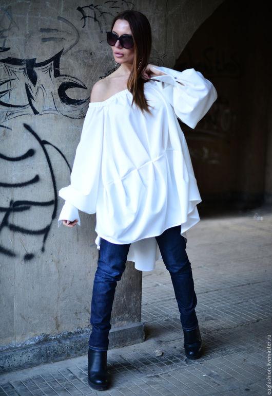 Белая/Черная рубашка. Рубашка. Рубашка с длинным рукавом. Свободный крой. EUG.