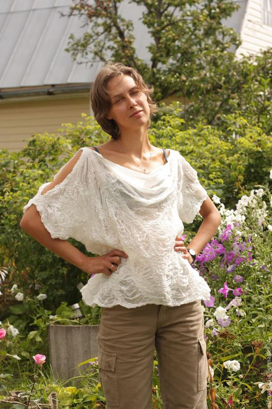 Блузки ручной работы. Ярмарка Мастеров - ручная работа. Купить Шелковая валяная блуза Белее белого. Handmade. Белый, балахон