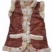 Одежда handmade. Livemaster - original item Women`s leather vest made of sheepskin size 50. Handmade.