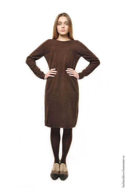 """Платья ручной работы. Ярмарка Мастеров - ручная работа. Купить Платье вязаное из 100% кашемира """"Шоколадное пралине"""". Handmade. Коричневый"""