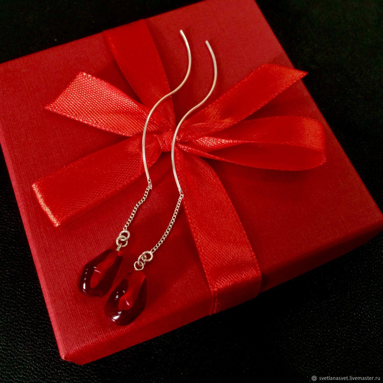 Silver earrings wave ' Red garnet', Thread earring, Novosibirsk,  Фото №1