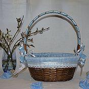 Для дома и интерьера ручной работы. Ярмарка Мастеров - ручная работа Плетеная корзина декорированная Горошинка голубая. Handmade.