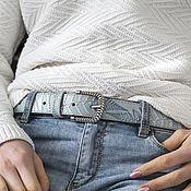 Аксессуары handmade. Livemaster - original item Copy of Light Olive Green leather Belt for Women 1.2 inches wide.. Handmade.