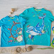 Одежда handmade. Livemaster - original item a couple of t-shirts for kids. Handmade.