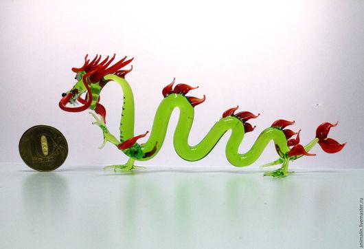 Статуэтки ручной работы. Ярмарка Мастеров - ручная работа. Купить Интерьерная скульптура из стекла -Нефритовый Дракон Ю ЛАНЬ. Handmade.