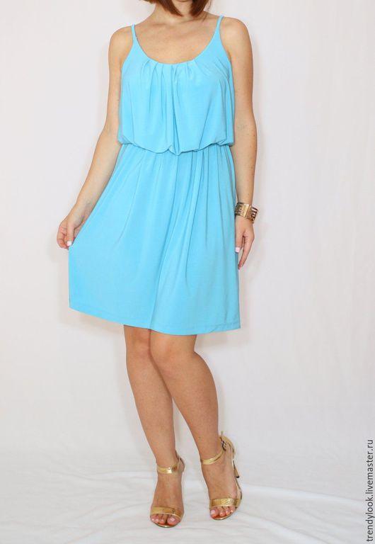 Платья ручной работы. Ярмарка Мастеров - ручная работа. Купить Ярко-голубое платье летнее, короткий сарафан на бретельках. Handmade.