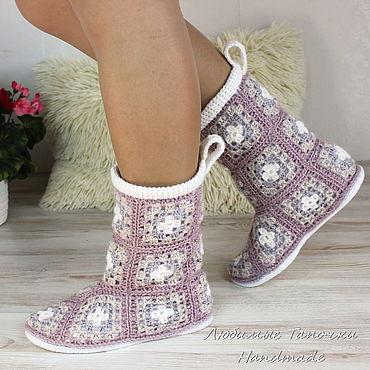 Обувь ручной работы. Ярмарка Мастеров - ручная работа Сапожки вязаные Бабушкин квадрат домашние. Handmade.