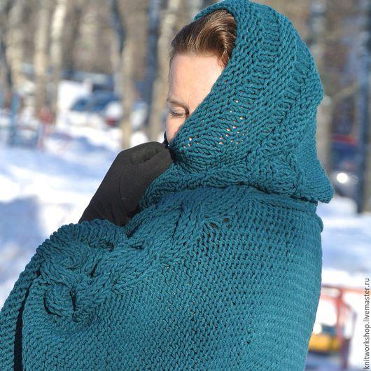 Кофты и свитера ручной работы. Ярмарка Мастеров - ручная работа. Купить Вязаный полушерстяной  свитер с капюшоном. Handmade. Тёмно-синий