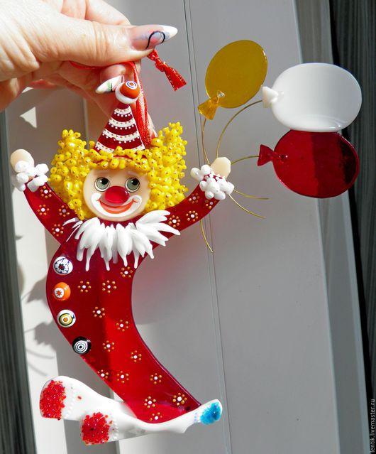 """Новый год 2017 ручной работы. Ярмарка Мастеров - ручная работа. Купить Елочные игрушки.""""Цирк уехал...клоуны остались!""""Стекло.Фьюзинг.. Handmade."""
