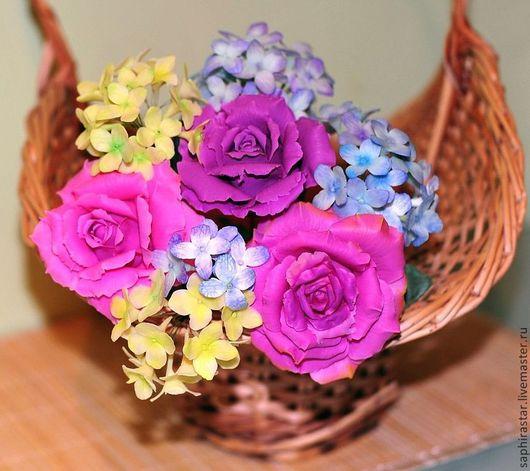 Цветы ручной работы. Ярмарка Мастеров - ручная работа. Купить Нежный букет из роз и гортензии. Handmade. Цветы из полимерной глины