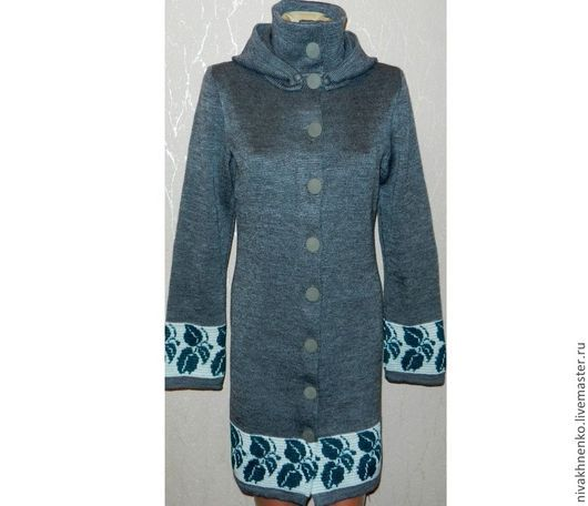 Верхняя одежда ручной работы. Ярмарка Мастеров - ручная работа. Купить Вязаное  пальто с капюшоном. Handmade. Вязание на машине