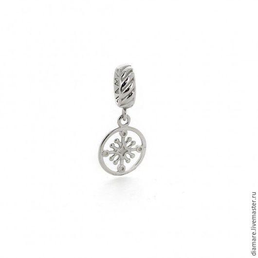 Серебряная шарм-подвеска `Солнечный крест`. Арт. 04-0110.