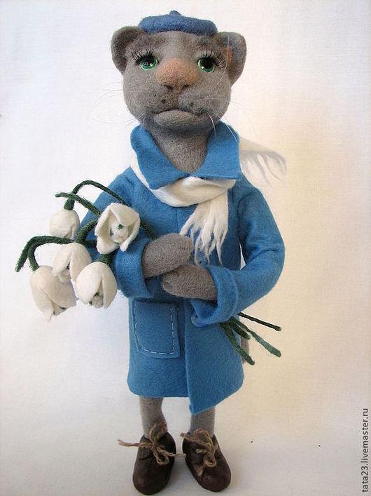 Игрушки животные, ручной работы. Ярмарка Мастеров - ручная работа. Купить войлочная игрушка-кот.Влюблён.Окончательно и бесповоротно.. Handmade.