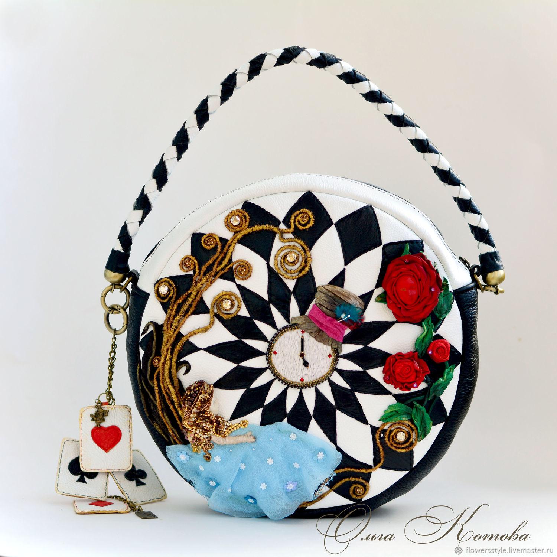 Сумочка кожаная с вышивкой Алиса, Самая сказочная геометрия, Сумка через плечо, Курск,  Фото №1