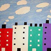 Картины и панно ручной работы. Ярмарка Мастеров - ручная работа Картина  Откуда  берутся  облака   домики   ярко. Handmade.