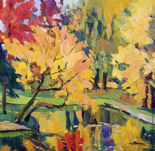 Пейзаж ручной работы. Ярмарка Мастеров - ручная работа. Купить Золотая осень. Handmade. Желтый, парк, пруд, осень
