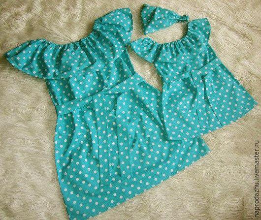 Одежда для девочек, ручной работы. Ярмарка Мастеров - ручная работа. Купить family look Бирюзовые платья в горошек,хлопок. Handmade.