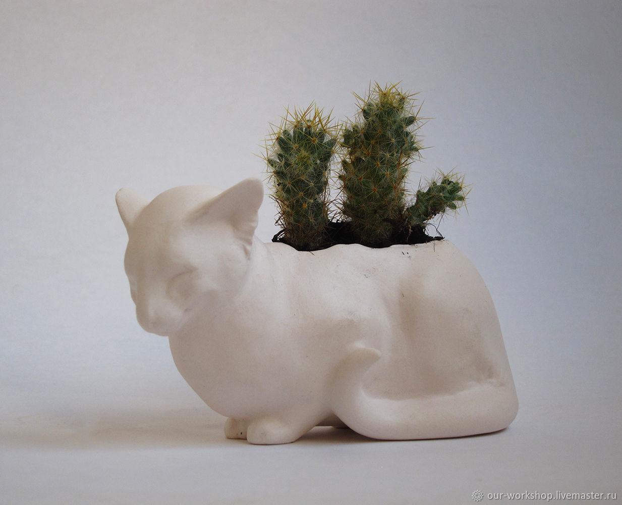 Мини горшочек топиарий для растений Белая кошка, Горшки, Москва,  Фото №1