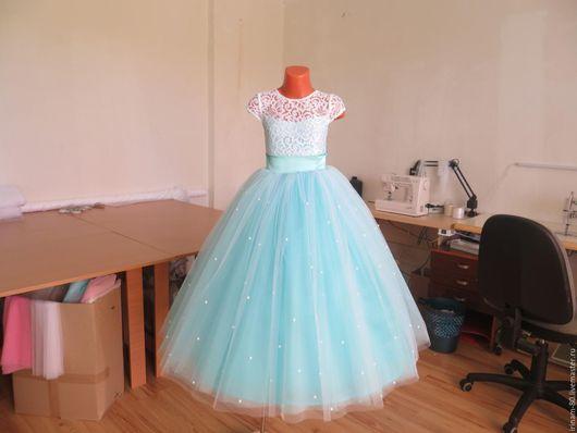 Одежда для девочек, ручной работы. Ярмарка Мастеров - ручная работа. Купить Нарядное детское платье. Handmade. Бирюзовый, платье на заказ