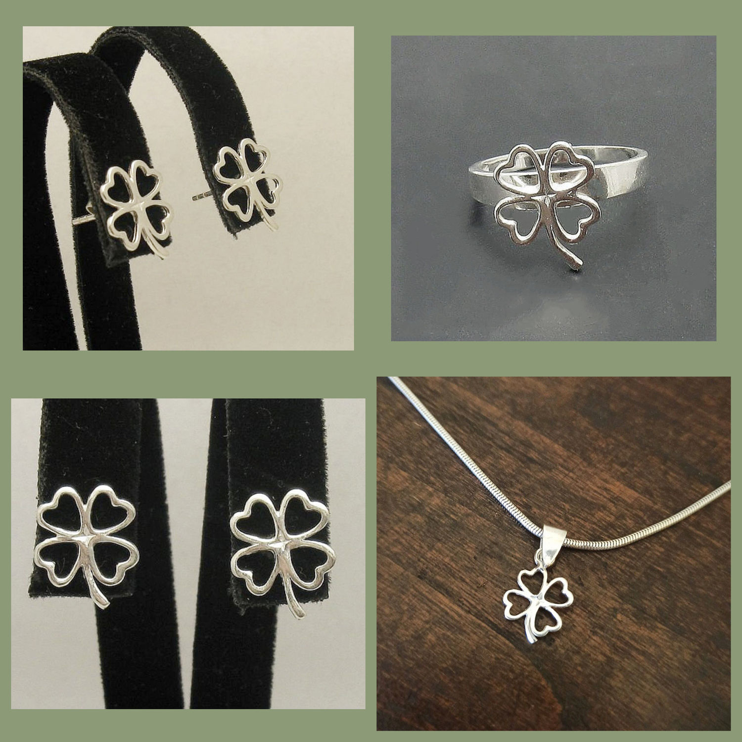 Silver clover pendant. Clover Ring and earrings. A necklace for good luck, Pendant, Turin,  Фото №1