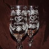 Свадебный салон handmade. Livemaster - original item Wedding glasses engraved. Handmade.
