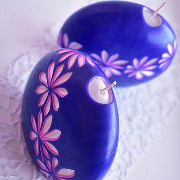 Свадебный салон ручной работы. Ярмарка Мастеров - ручная работа Резные свечи пара - чернильный синий - розовый - белый. Handmade.