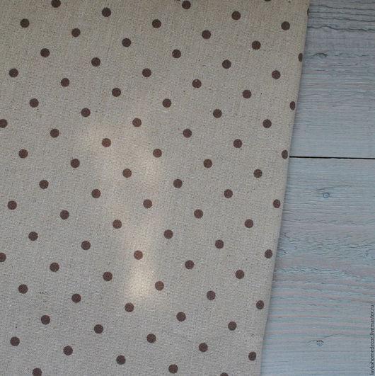 Лен небеленый Горох коричневый, 50х50см, 0705