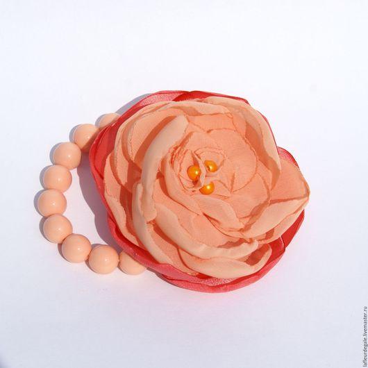 """Браслеты ручной работы. Ярмарка Мастеров - ручная работа. Купить Флёр-браслет """"Персиковый пион"""" (Fleur-braslet """"Peach Peony"""").. Handmade."""