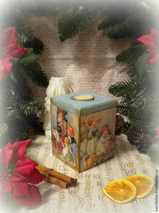 Короб для подарка. Короб для сладостей.Подсвечник деревянный Исполнение Желаний.Подсвечник декупаж.Подарок на Новый год