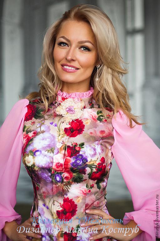 Блузки ручной работы. Ярмарка Мастеров - ручная работа. Купить Блузка Виолетта-3. Handmade. Розовый, блузка из шелка
