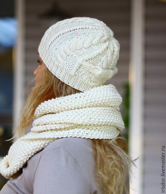 Комплект вязаный шарф и шапка, длинный шарф, шерстяной шарф, купить шарф, купить шапку, вязаные головные уборы