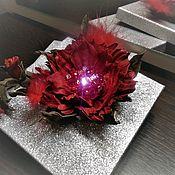 Украшения ручной работы. Ярмарка Мастеров - ручная работа Цветок из натуральной кожи с подсветкой. Handmade.