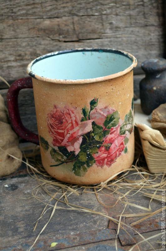 Кружки и чашки ручной работы. Ярмарка Мастеров - ручная работа. Купить Старинная кружка Розовый букет в стиле Кантри,для кухни. Handmade.