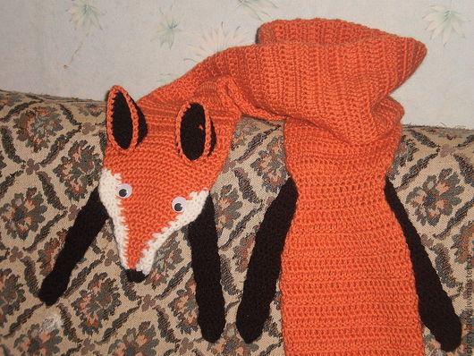 Шарфы и шарфики ручной работы. Ярмарка Мастеров - ручная работа. Купить шарф ''Лиса'' вязанный. Handmade. Рыжий, полушерсть