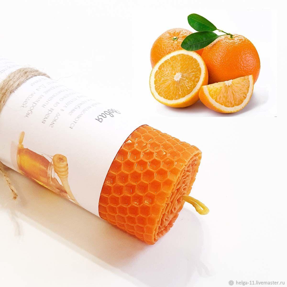 Honey candle-Orange with orange 13h4,7,  cm, Candles, St. Petersburg,  Фото №1