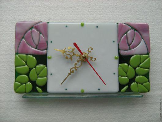 """Часы для дома ручной работы. Ярмарка Мастеров - ручная работа. Купить Настольные часы """" Розы"""". Handmade. Фьюзинг часы"""