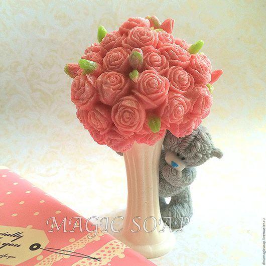 Мыло ручной работы. Ярмарка Мастеров - ручная работа. Купить мыло Мишка  и ваза с розами. Handmade. Мыло, мыло в новокузнецке
