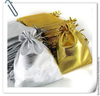 Новый год 2017 ручной работы. Ярмарка Мастеров - ручная работа. Купить Мешочки из парчи,цвет золото и серебро,9х12 см. Handmade.
