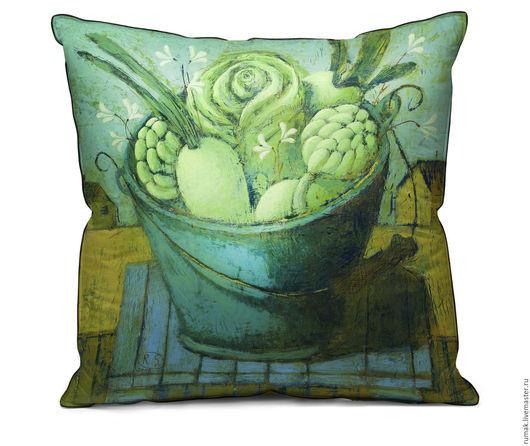 """Текстиль, ковры ручной работы. Ярмарка Мастеров - ручная работа. Купить наволочка """"зеленые овощи"""". Handmade. Голубой, овощи, наволочка"""