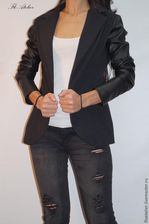 Верхняя одежда ручной работы. Ярмарка Мастеров - ручная работа. Купить Черный жакет/Модная куртка/F1324. Handmade. Черный, верхняя одежда