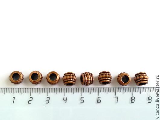Бусины металлические 7 * 7 мм (под медь). Для украшений.  Диаметр отверстия - 4 мм