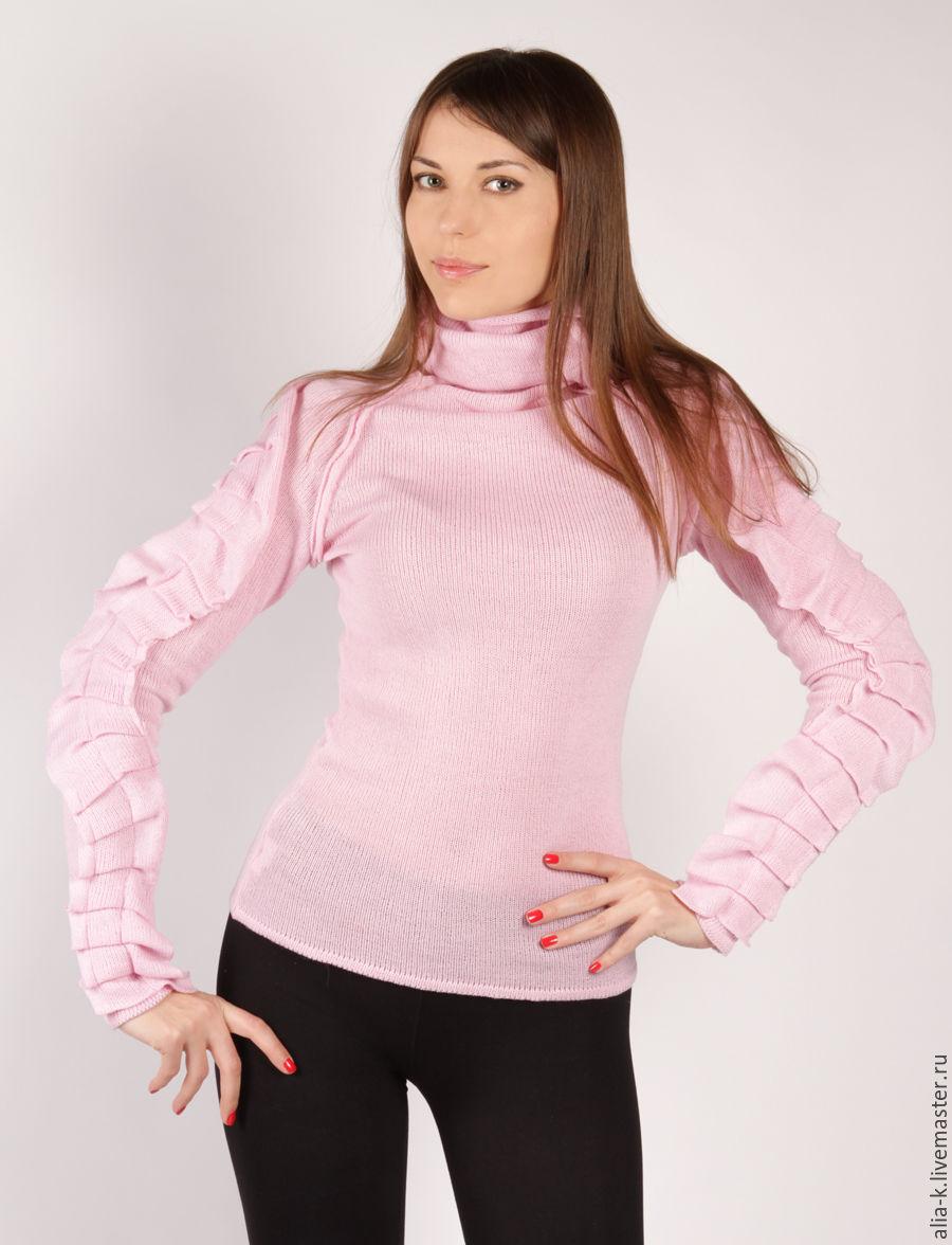 """Кофты и свитера ручной работы. Ярмарка Мастеров - ручная работа. Купить Свитер """"Жабо"""". Handmade. Розовый, теплый, свитер с горлом"""